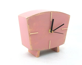 Table Pink clock, Handmade Wood Desk clock, Vintage Style, Unique home decor, Wedding gift , Spring home decor, Birthday gift, Pink decor