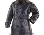 1970's MILITARY STYLE VINTAGE Italian Army Leather Motorcycle  Jacket Peacoat