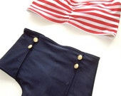 High Waist Nautical Pin Up Style Bikini