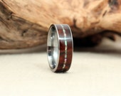 Dark Arizona Desert Ironwood Burl Wood Ring with Mother of Pearl Inlay Wooden Ring Titanium Ring