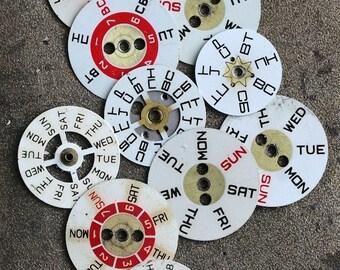 Vintage Watch parts -- weekday rings -- set of 11
