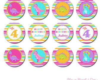 Girl Dinosaur Party Circles | Girl Dinosaur Cupcake Toppers | Girl Dinosaur Stickers | PRINTABLE Girl Dinosaur Party Circles #533