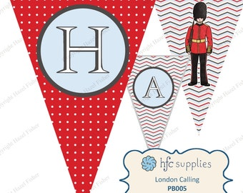 London Birthday Bunting - printable happy birthday party banner, Queen's Guard soldier and Beefeater - Digital Instant Download PB005