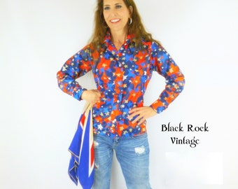 Patriotic Wind Shirt, Red White and Blue Stars, Vintage 1970s Size Small
