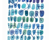 Blue Abstract painting - connections - watercolor art print - watercolor painting blue dots