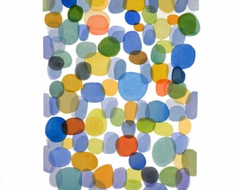 "Original abstract painting original watercolor large painting 18 x 24"" color dots painting summer"