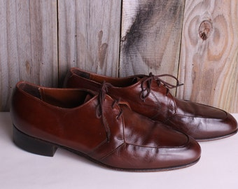 Men's Size 9 - 60s Leather Shoes - Vintage Mens Brown Dress Shoes - Sears Vintage Loafers