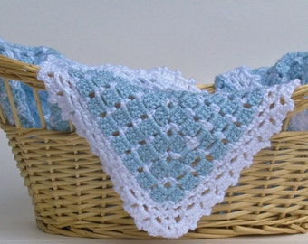 READY TO SHIP Handmade Crocheted Heirloom Blue and White Crocheted Baby Blanket, Perfect for Baby Showers, Baptism Gift, Christening Gift