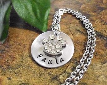 Paw Print Jewelry, Personalized Necklace, Animal Jewelry, Hand Stamped Necklace, Bling Animal Jewelry