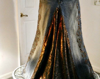 Made to Order Copper Lace jean skirt bronze metallic  Seven for All Mankind bohemian ballroom Renaissance Denim Couture OOAK