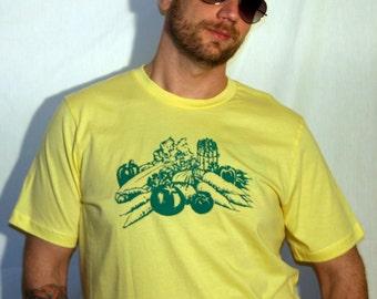 SALE Veggies on 100% Cotton Lemon T-Shirt - Available in XL, L, S