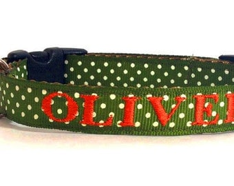 Personalized Dog Collar - Olive Green Dog Collar - Monogrammed with Name & Phone
