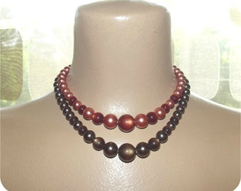 Vintage 40s 50s 2 Double Strand Copper & Mocha MoonGlow Faux Pearl Bead Necklace Choker