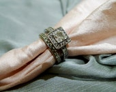 Further SALE. Vintage Sterling Silver Engagement Wedding Ring Set with cubic zirconia. Sz 6.75.  Art Deco.