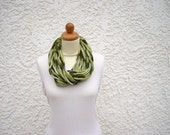 Green crochet necklace, infinity rope scarf, chunky statement necklace
