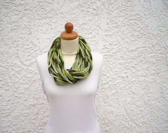 Green crochet infinity scarf, chunky statement necklace, chain necklace, rope necklace, cowl scarf, loop infinity scarf, womens scarf