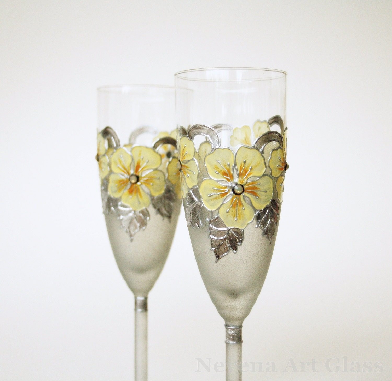 Champagne Flute Wedding Glasses Wedding Flute HAND PAINTED
