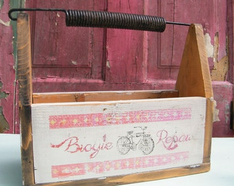 Tool Box Vintage Bicycle Repair Wood and Metal