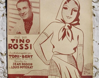 1940's Illustrated French Song / Sheet Music - Piccinina (Sung by Tino Rossi)