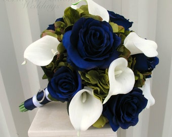 Wedding bouquet Navy blue roses Sage green White calla lily, Silk wedding flowers