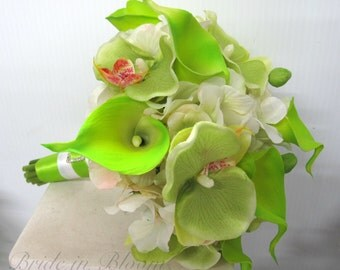 Wedding Bouquet, Lime green calla lily orchid white Silk bridal bouquet