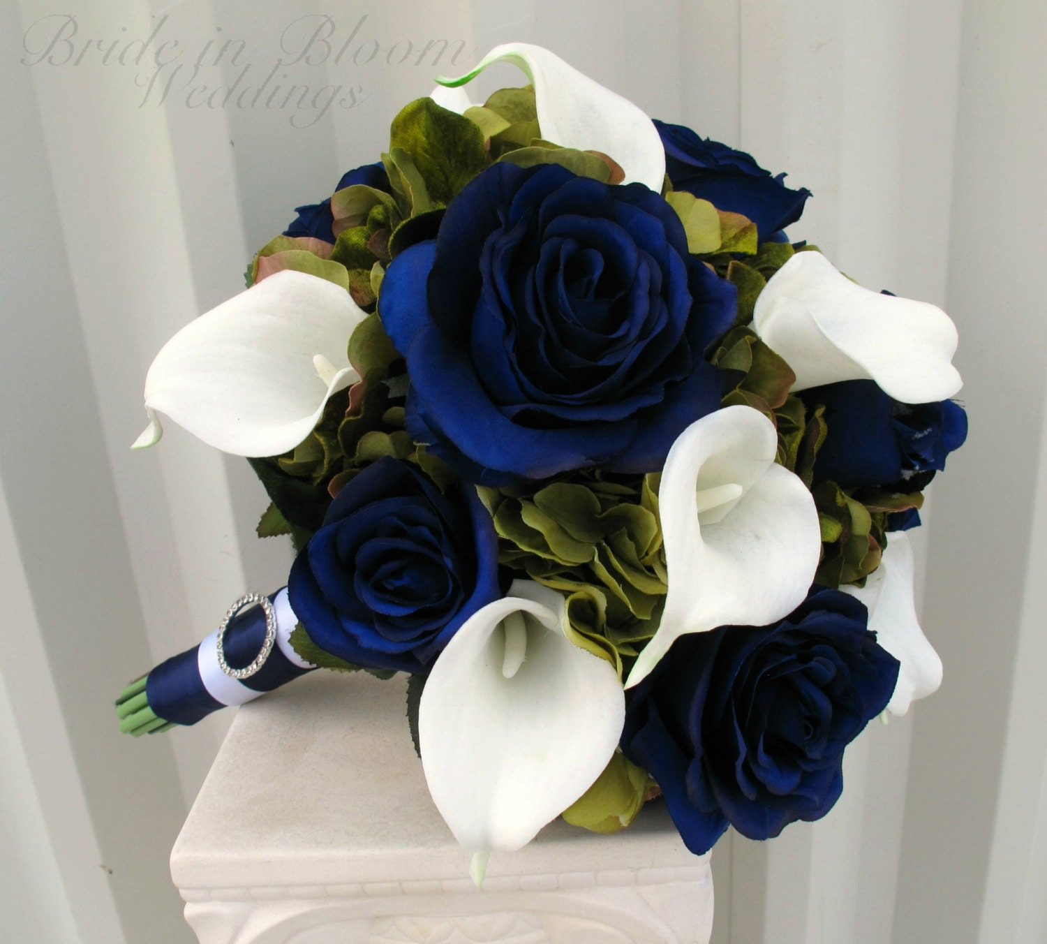 Blue And White Flowers For Weddings: Wedding Bouquet Navy Blue Roses Sage Green White Calla Lily