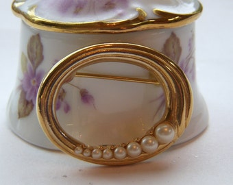 Trifari Oval Gold and Pearl Small Brooch