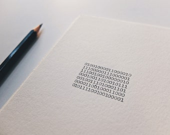 The Binary Happy Birthday Postcard Print - Computer Geek Art Print - Binary Code Stationary Greeting Card