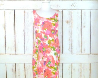 Vintage pink floral wiggle dress/50s style pencil dress/90s sleeveless linen cocktail dress