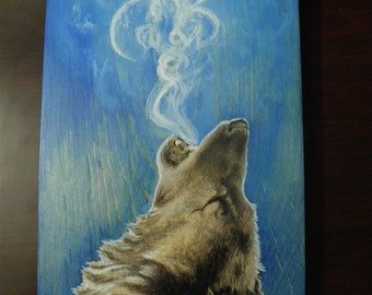 The Wolf - Wood Panel Art by April Henderlong