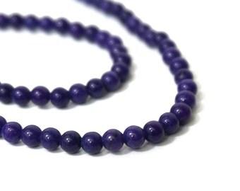 Purple Mountain Jade 4mm Round Grape, Full Strand, 869S
