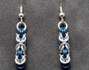 Silver & Blue Byzantine Earrings