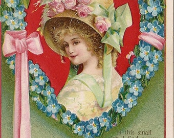 Victorian Valentine  Postcard - Clapsaddle - Girl in Forget Me Not Heart Wreath - Pink Roses - Pink Ribbon