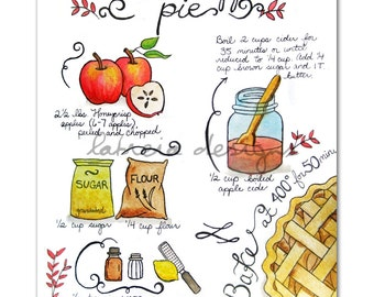 Apple Pie Recipe Illustration - Recipe Art - Fall Art - Fall Decor - Kitchen Art - Hand Lettering - Apple Pie Art - Recipe Illustration -