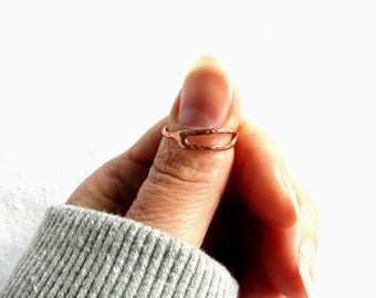 Minimalist Skinny Ring, Rustic Stacking Rings,  Primitive Ring, Copper Ring, Delicate Ring, Old World, Handmade Gift