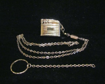 Vintage Lighter Necklace & Keychain OOAK Handmade Silver WORKING LIGHTER Pendant Necklace