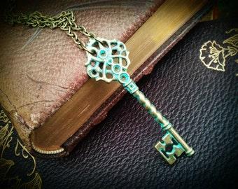 Skeleton Key Necklace - ornate key jewelry, aqua blue green turquoise patina, brass, boho gypsy, layering pendant, rustic wedding, christmas