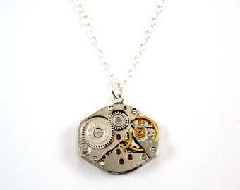 Steampunk necklace, Watch movement necklace, Watch necklace, Sterling Silver, Steam Punk