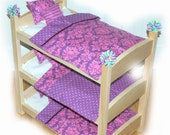 Triple Doll Bunk Bed - Purple-icious American Made Girl Doll Bunk Bed - Fits 18 inch dolls and AG dolls