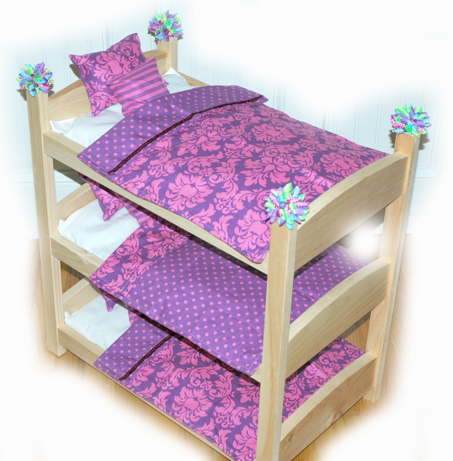 Bunk Bed Dolls: Triple Doll Bunk Bed Purple-icious American Made By