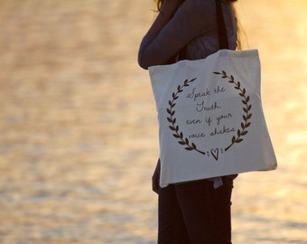 Speak the Truth Canvas Tote Bag - Natural or Black Handle