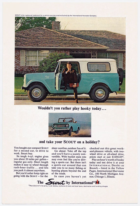 1964 ih scout play hooky ad 64 international harvester scout for International harvester wall decor