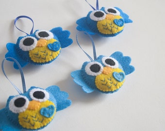 SALE Set of 4 Blue Felt Owl Ornaments Baby Shower Party Favors/DIY Mobile