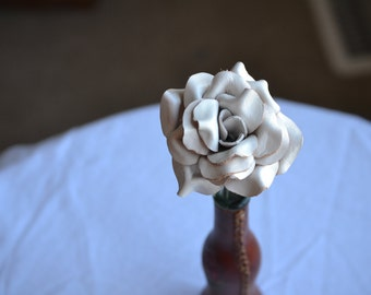 Sculpted white leather rose