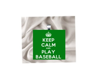 Scrabble Tile Pendant Necklace Keep Calm and Play Baseball