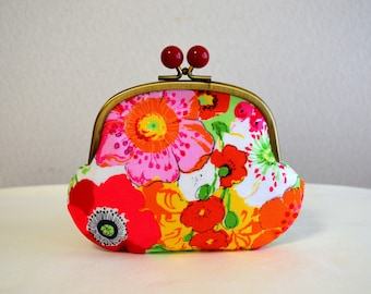 Botanical frame purse with Acryl balls - Retro, Cotton fabric, Flower, Anemone, Novelty, Multiple,