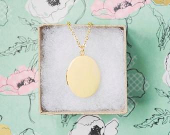 Large Oval Locket - Pendant Style Necklace - Honey Yellow