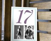 Table Number Card with Two Photos and Large Numbers - Through the Years - 5x7 or 4x6 Card
