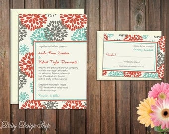 Wedding Invitation - Floral Sketch in Aqua Green Red and Gray - Invitation and RSVP Card with Envelopes