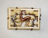 SALE!!  Vintage Art NOUVEAU PIN, Depose France Pierced Celluloid, Deer & Trees, Enameled w/Brass Setting, Trombone Clasp